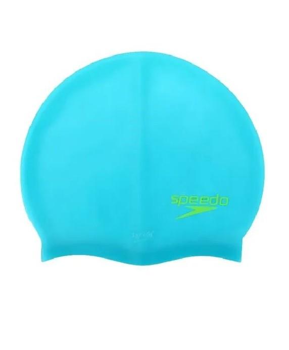 Touca de Natação Silicone Speedo Lisa Azul Neon