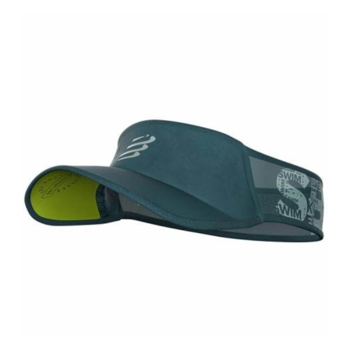 Viseira Compressport Ultralight Swim Bike Run Verde Cinza