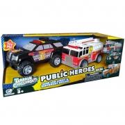 Carrinho Bombeiro Flash + Policia Star 1:20 - Shinny Toys