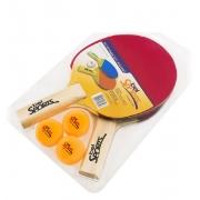 Kit 2 Raquetes 3 Bolinhas Tênis De Mesa Ping Pong