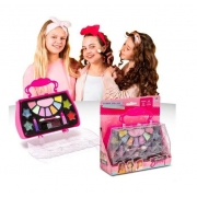 MK06 - Kit Maquiagem Infantil com Bolsa Maleta MakeBrinq - PoliBrinq