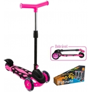 Patinete Infantil 3 Rodas Power Dobrável Rosa - DM Toys