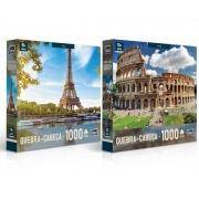 Quebra-Cabeça 1000 Peças Europeu Paris ou Roma - Toyster
