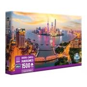 Quebra-cabeça 1500 Peças Luzes de Xangai - Game Office Panorâmico Toyster