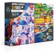 Quebra Cabeça Puzzle 2x 500 Peças Grécia - Itália
