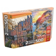 Quebra-Cabeça Puzzle Duplo - Passeio Pela Europa - 500 Pçs - Grow