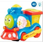 Trem Bate e Volta Projeta Imagem + Som E Luz A Pilha - DM Toys