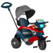 Triciclo de Passeio e Pedal Velobaby - Azul com Campota Bandeirante
