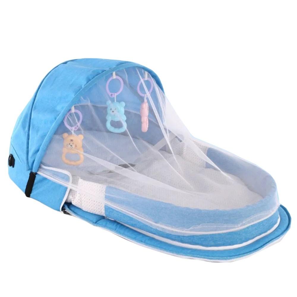Berço Cama portátil com brinquedos e mosquiteiro para bebê dormir dobrável Azul