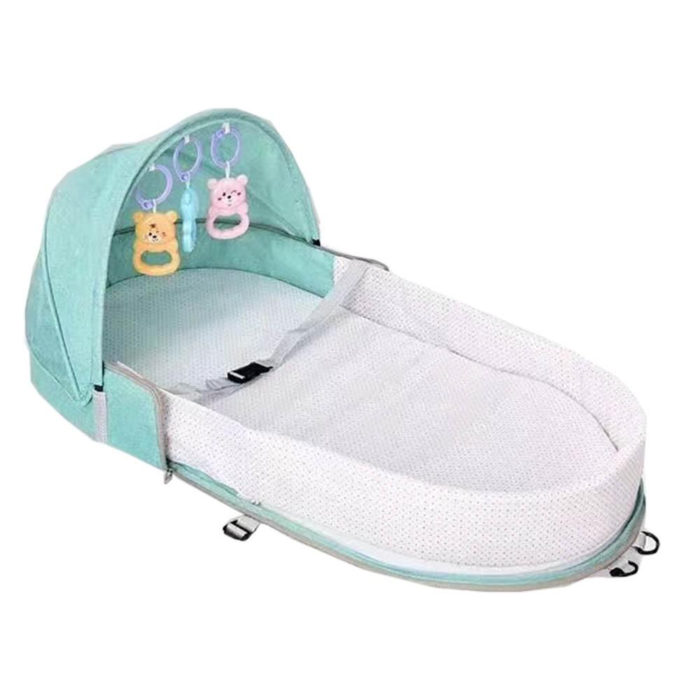 Berço Cama portátil com brinquedos e mosquiteiro para bebê dormir dobrável Verde