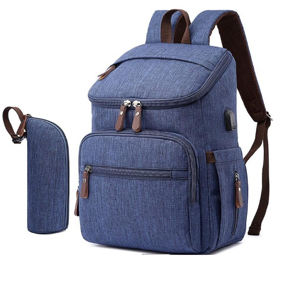 Bolsa Maternidade Mommy Bag Azul Modelo Landquart Moda Mommy Land  Com USB e Espaço para Notebook