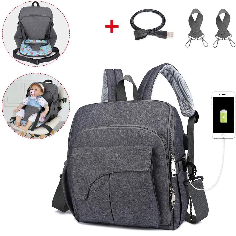 Bolsa Maternidade Mommy Bag Vira Cadeirinha 2 em 1 Chaise Cinza Escuro Com USB e Impermeável