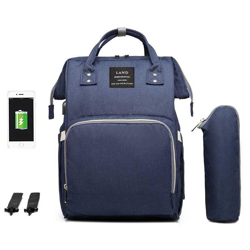 Bolsa/Mochila Maternidade Land Original Com USB e Impermeável Azul