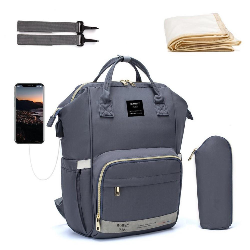 Bolsa/Mochila Maternidade Cinza Mommy Bag Com USB, Impermeável, com Trocador e Porta Mamadeira Modelo Nabesco Smart