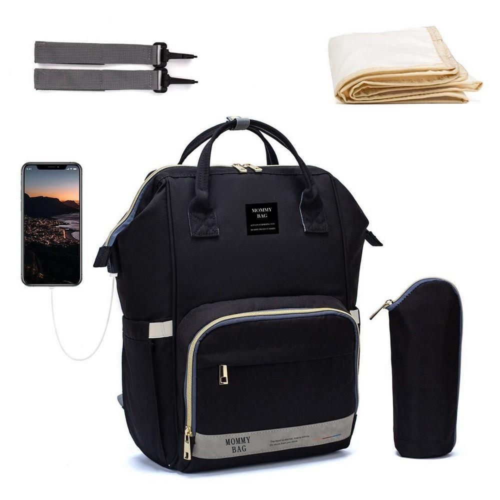 Bolsa/Mochila Maternidade Mommy Bag Com USB,  Impermeável, Com Trocador e Porta Mamadeira Modelo Nabesco Smart