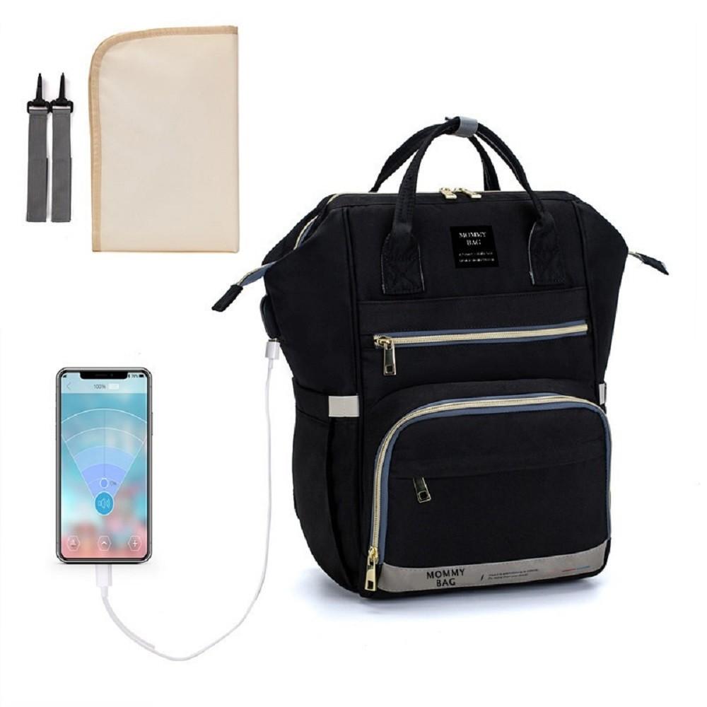 Bolsa/Mochila Maternidade Preta Mommy Bag Com USB, Impermeável e Com Trocador Modelo Premium