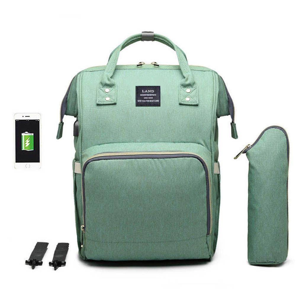 Bolsa/Mochila Maternidade Land Original Com USB e Impermeável Verde