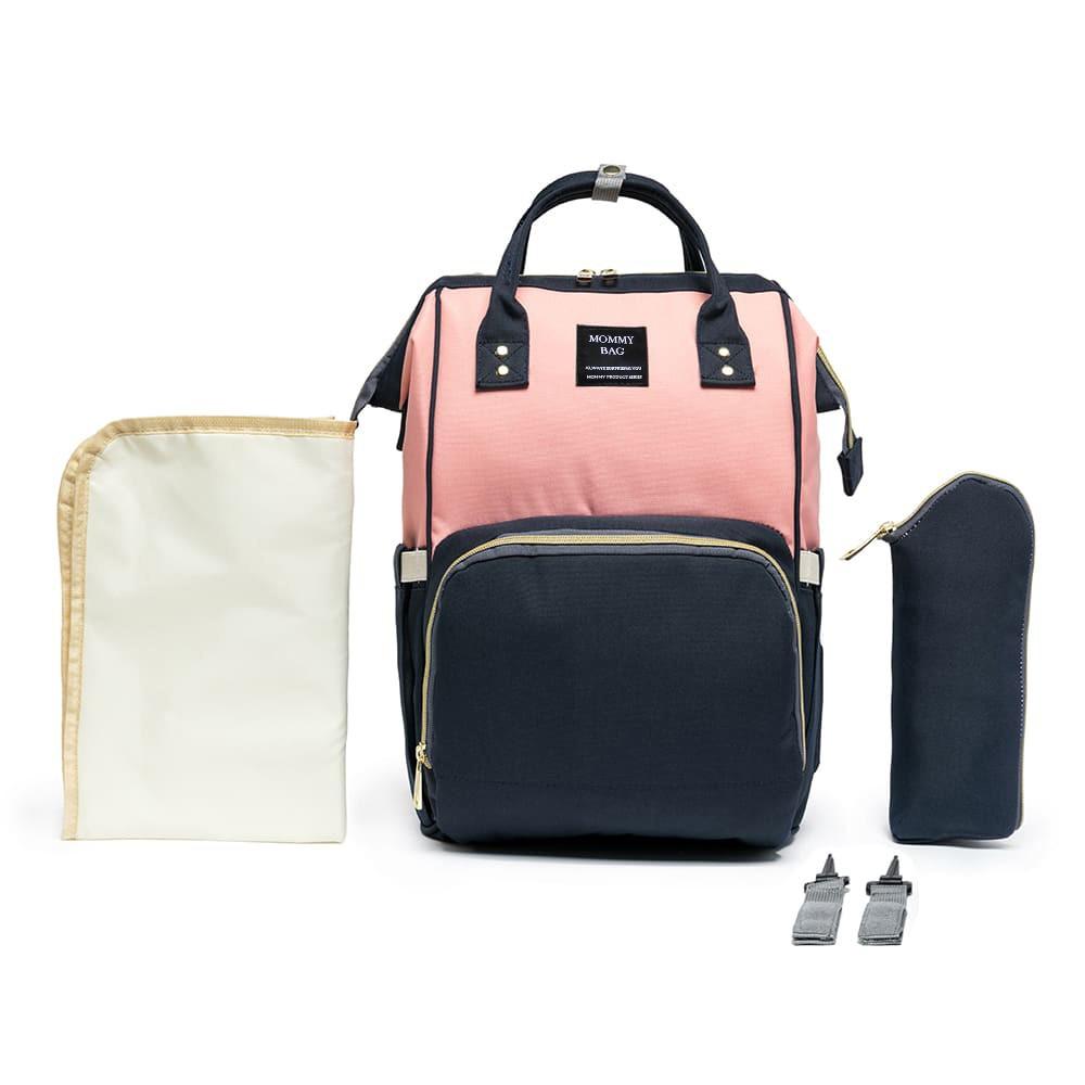 Mochila Bolsa Maternidade Mommy Bag Original Rosa Com Azul Moda Mommy Land Classic Baby Com USB, Trocador e Porta Mamadeira