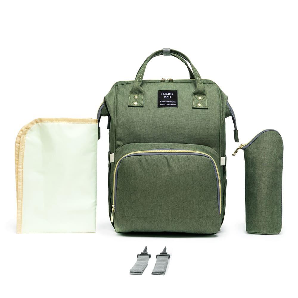 Mochila Bolsa Maternidade Mommy Bag Original Verde Moda Mommy Land Classic Baby Com USB, Trocador e Porta Mamadeira