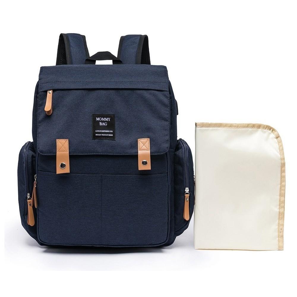 Mochila Maternidade Azul Mommy Bag Executive Grace Smart Com USB e Trocador