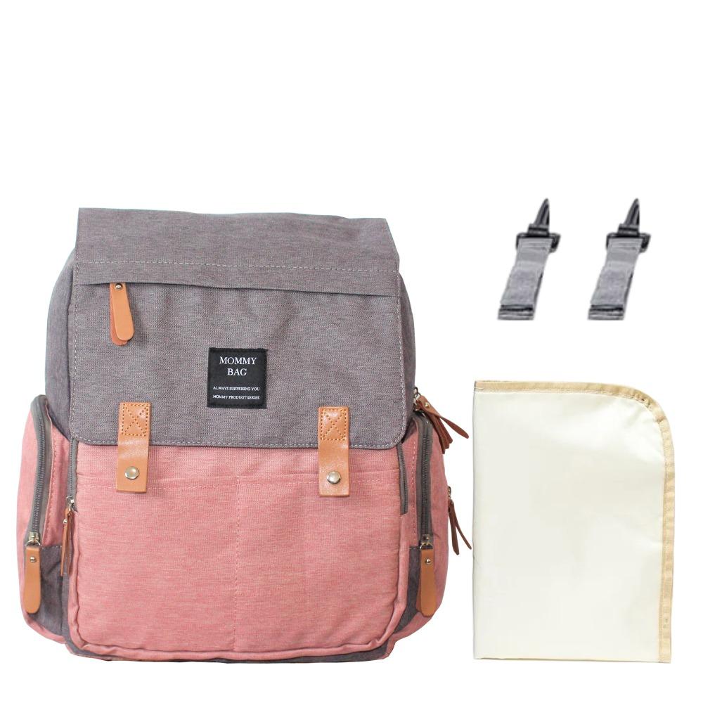Mochila Maternidade Cinza Com Rosa Mommy Bag Executive Grace Smart Com USB e Trocador Moda Mommy Land
