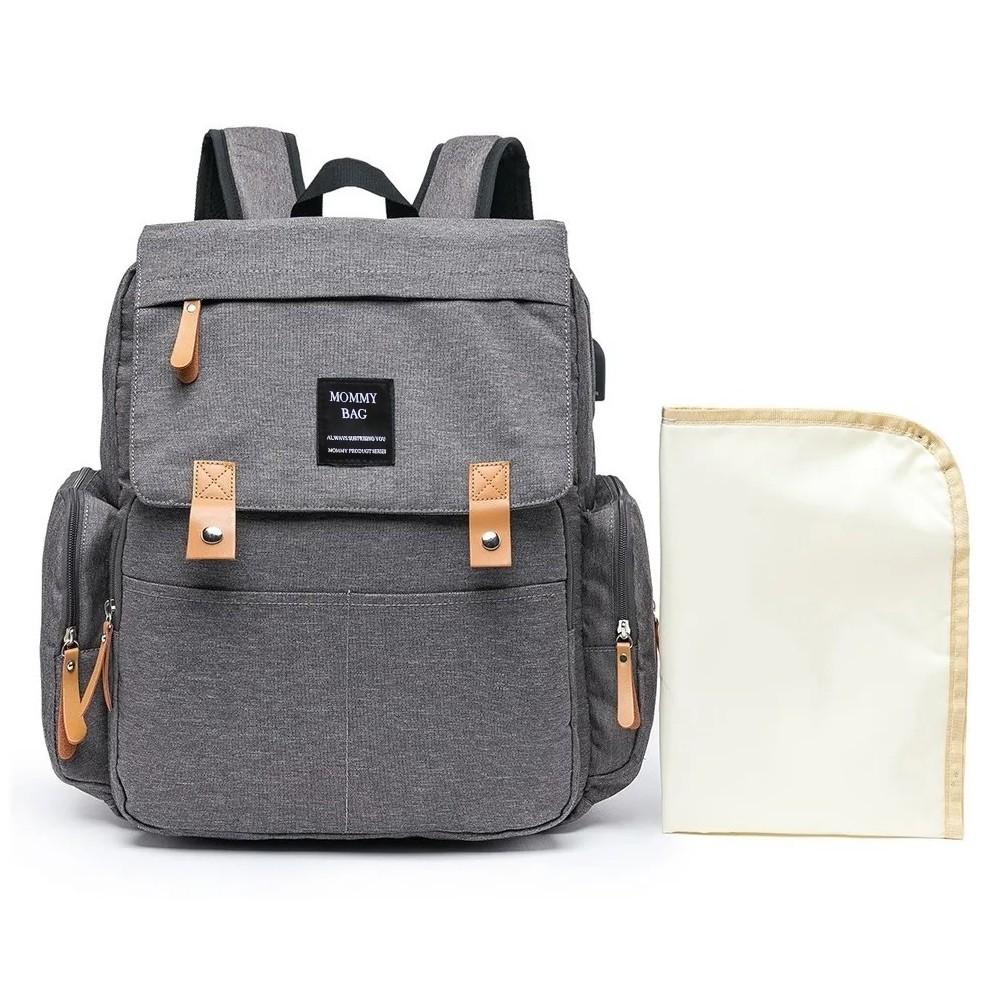 Mochila Maternidade Cinza Mommy Bag Executive Grace Smart Com USB e Trocador
