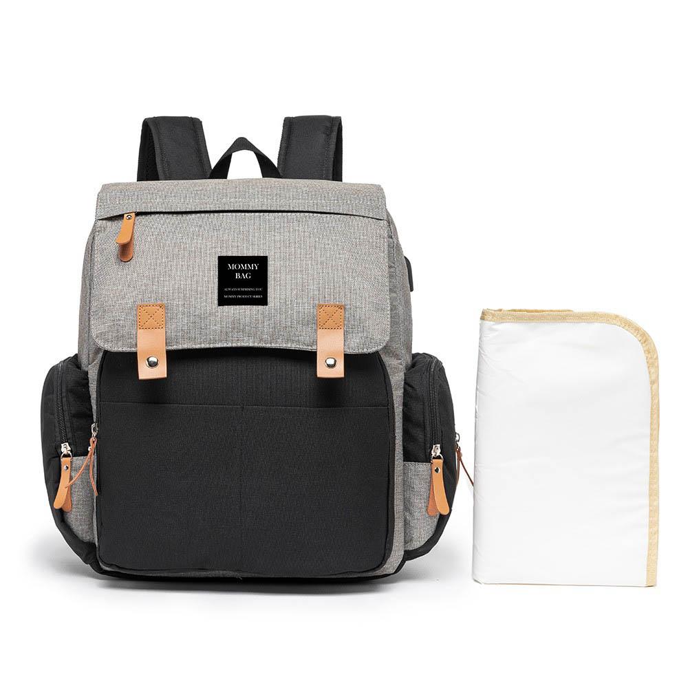 Mochila Maternidade Mommy Bag Executive Cinza com Preto Grace Smart Com USB e Trocador