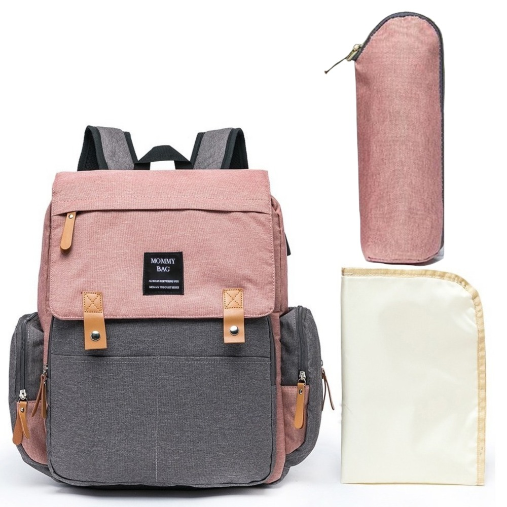 Mochila Maternidade Mommy Bag Executive Cinza e Rosa Grace Smart Com USB e Trocador Moda Mommy Land