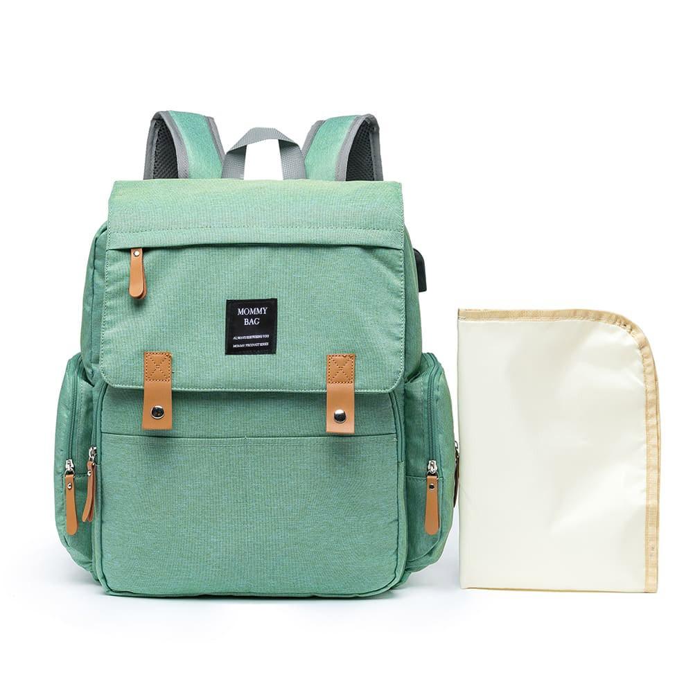 Mochila Maternidade Verde Mommy Bag Executive Grace Smart Com USB e Trocador Moda Mommy Land