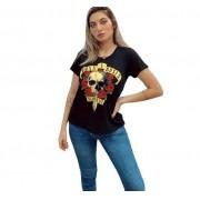 Camiseta Guns n Roses bordada preta