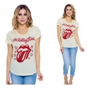 Camiseta Rolling Stones Bordada Amarela
