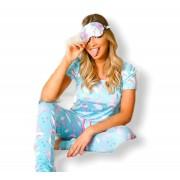 Pijama Blusa e Calça Estampa Dinossauro Azul Malha Fria