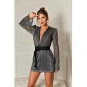 Vestido manga comprida com cinto