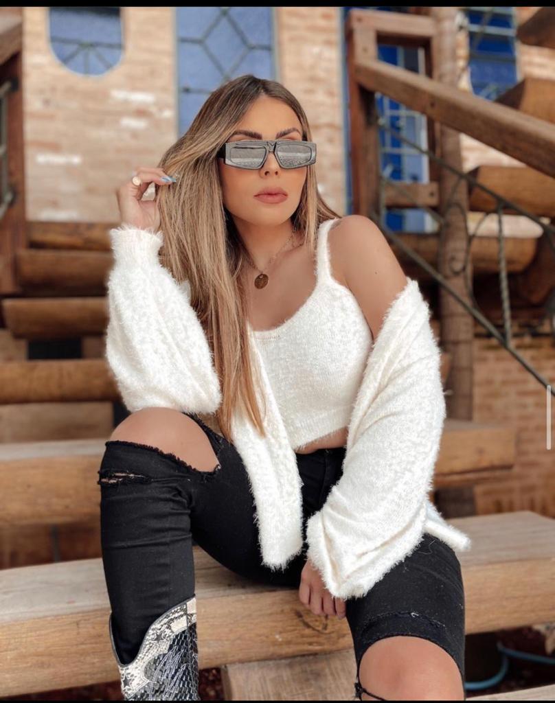 Blusa Cropped + Quimono Pelinhos Cores
