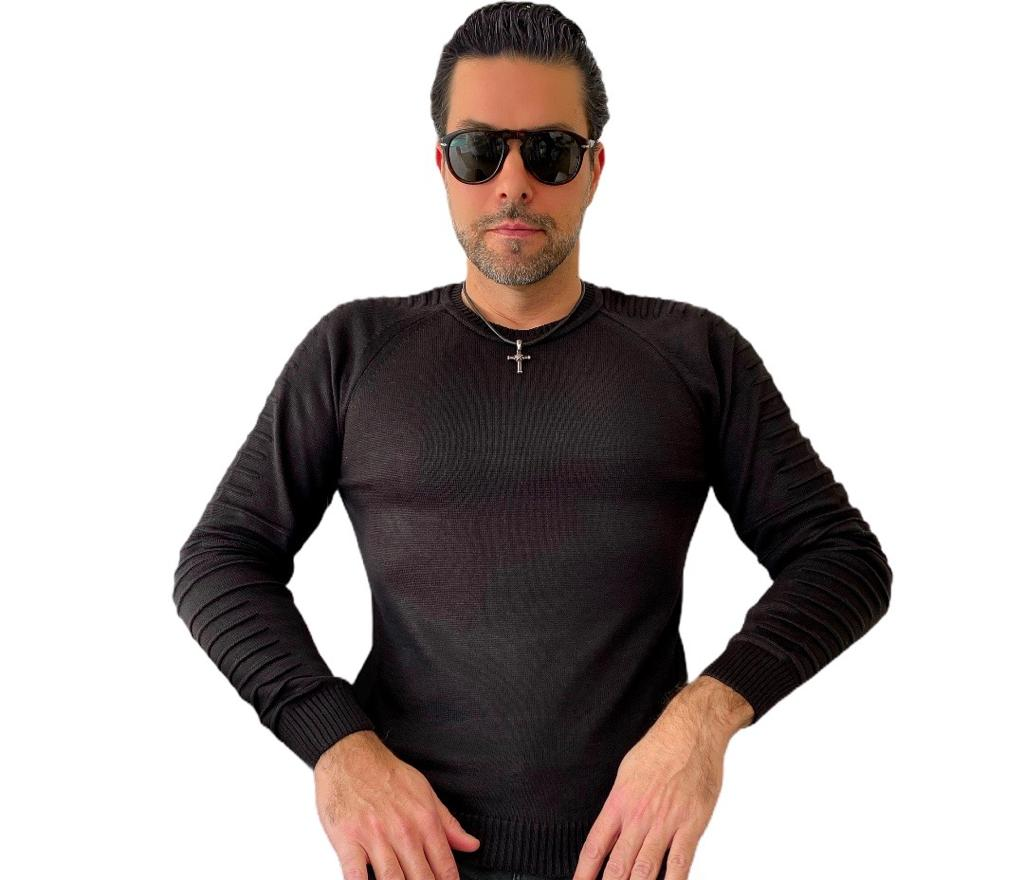 Blusa Manga Comprida trico preta Unissex