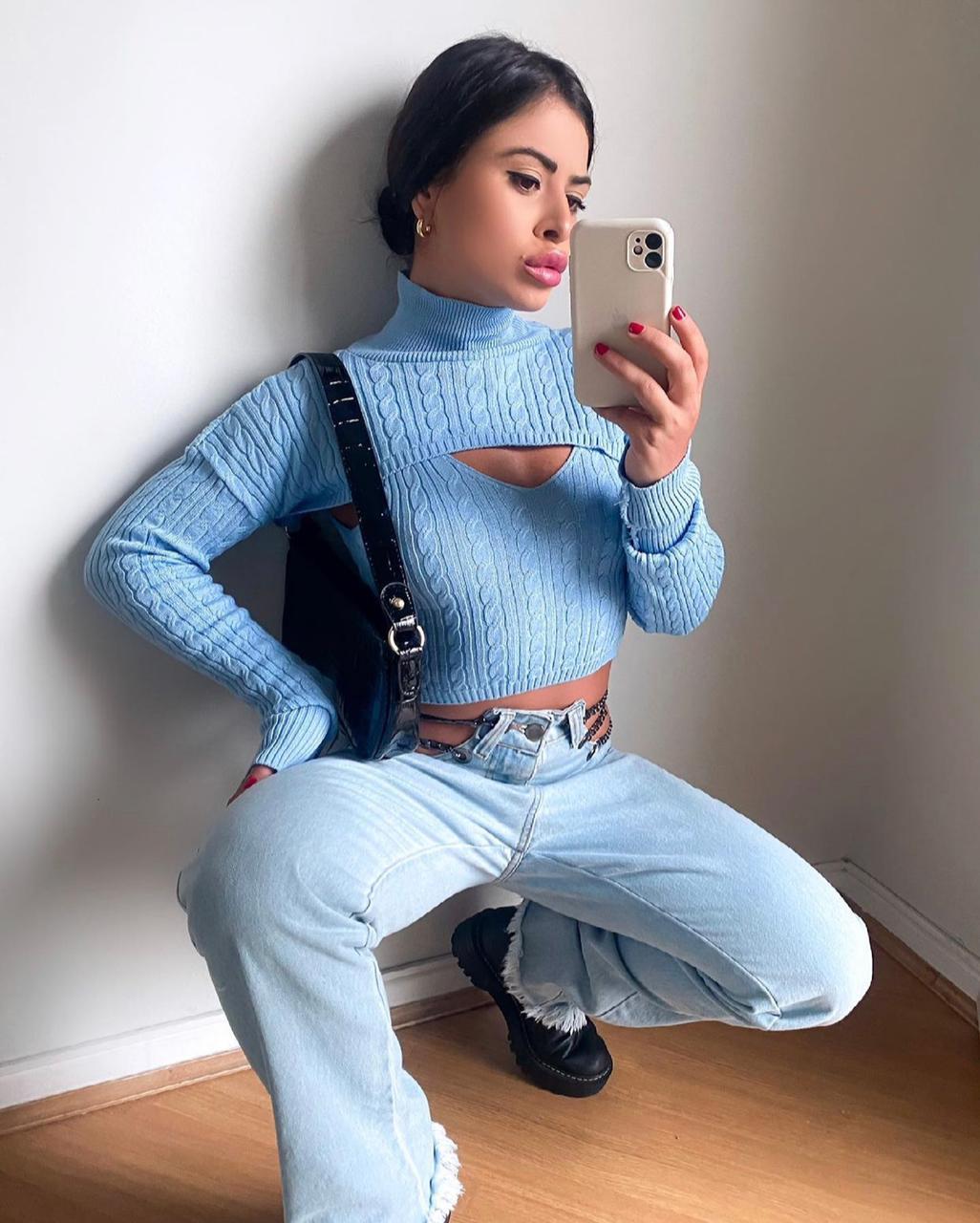 Blusa Modal Trança Trico Com Regata Mari