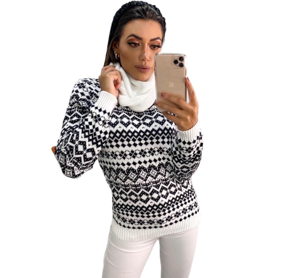 Blusa Trico Estampado Branco e Preto