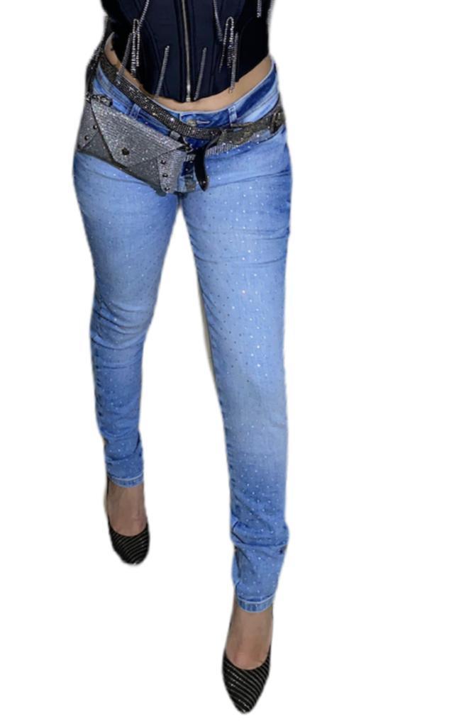 Calça Jeans Cintura Alta Com Strass