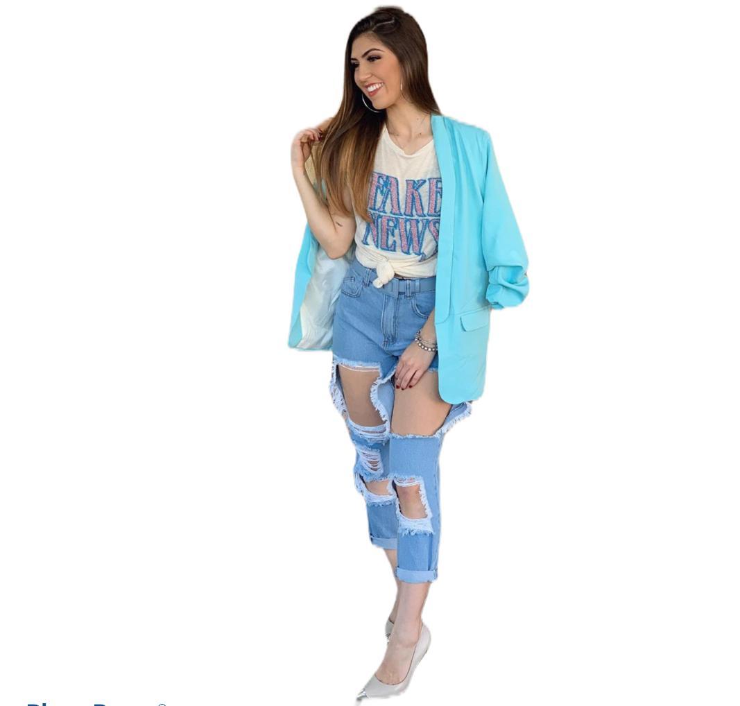 Calça Jeans Destroyed Rasgada Cintura Alta