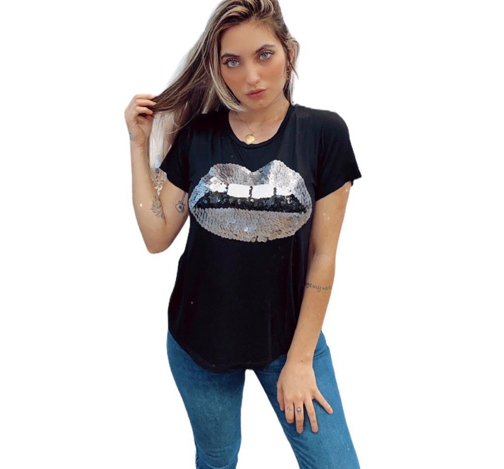 Camiseta bordada paete preta