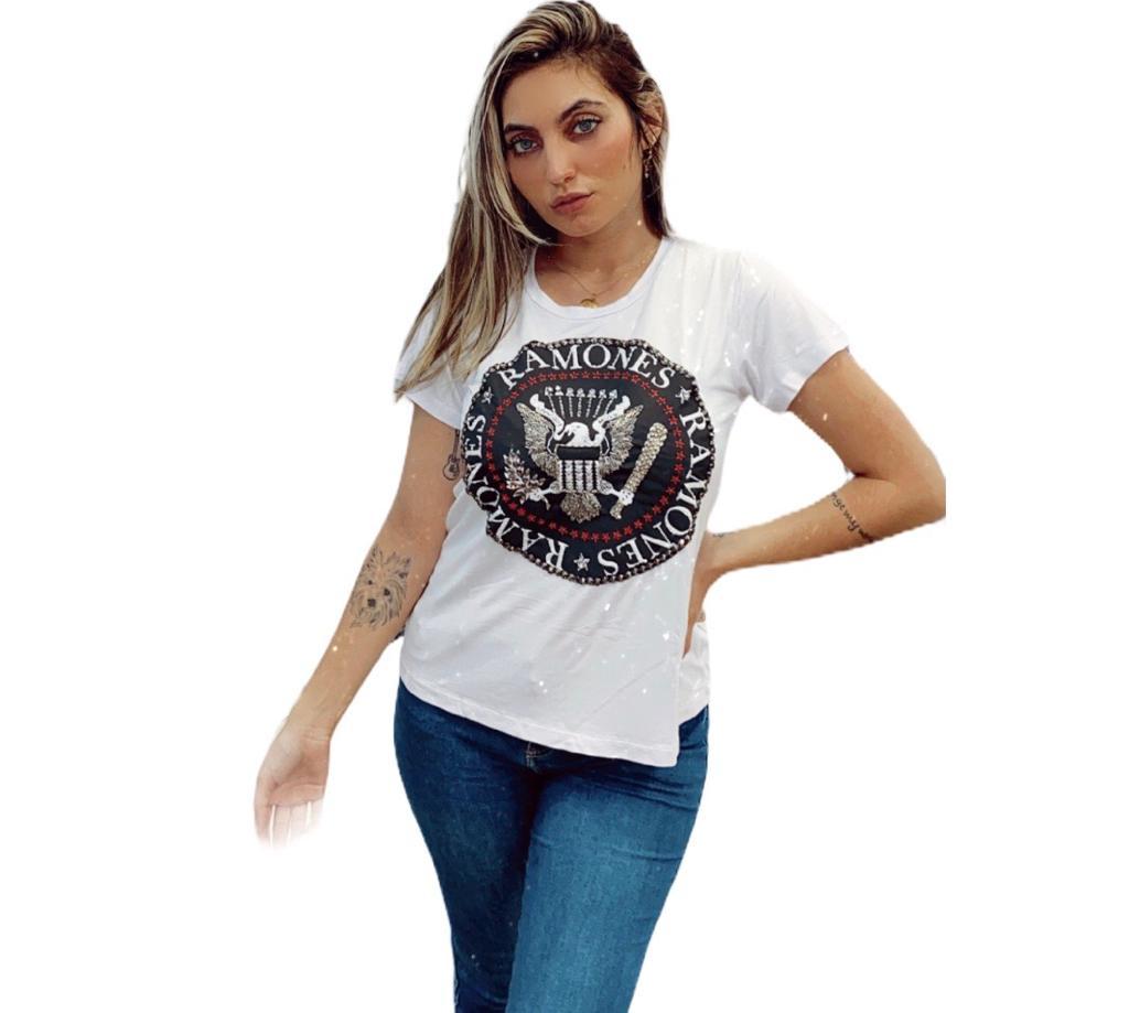 Camiseta ramones bordada branca