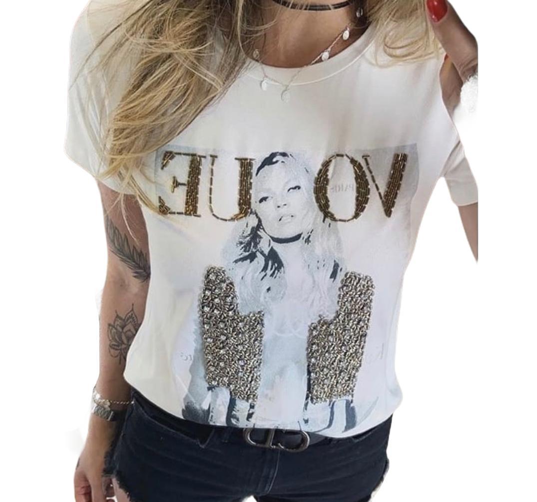 Camiseta Vogue Bordada Branca