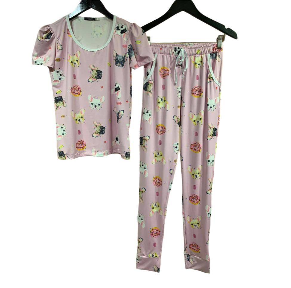 Pijama Blusa e Calça Estampa Cachorro Rosa Malha Fria