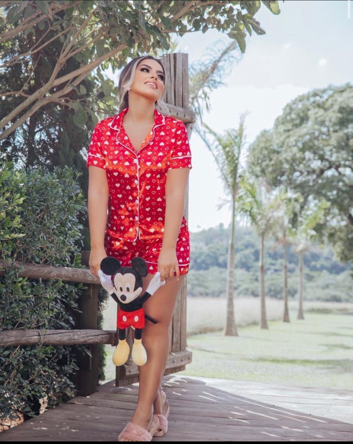 Pijama Cetim Coração