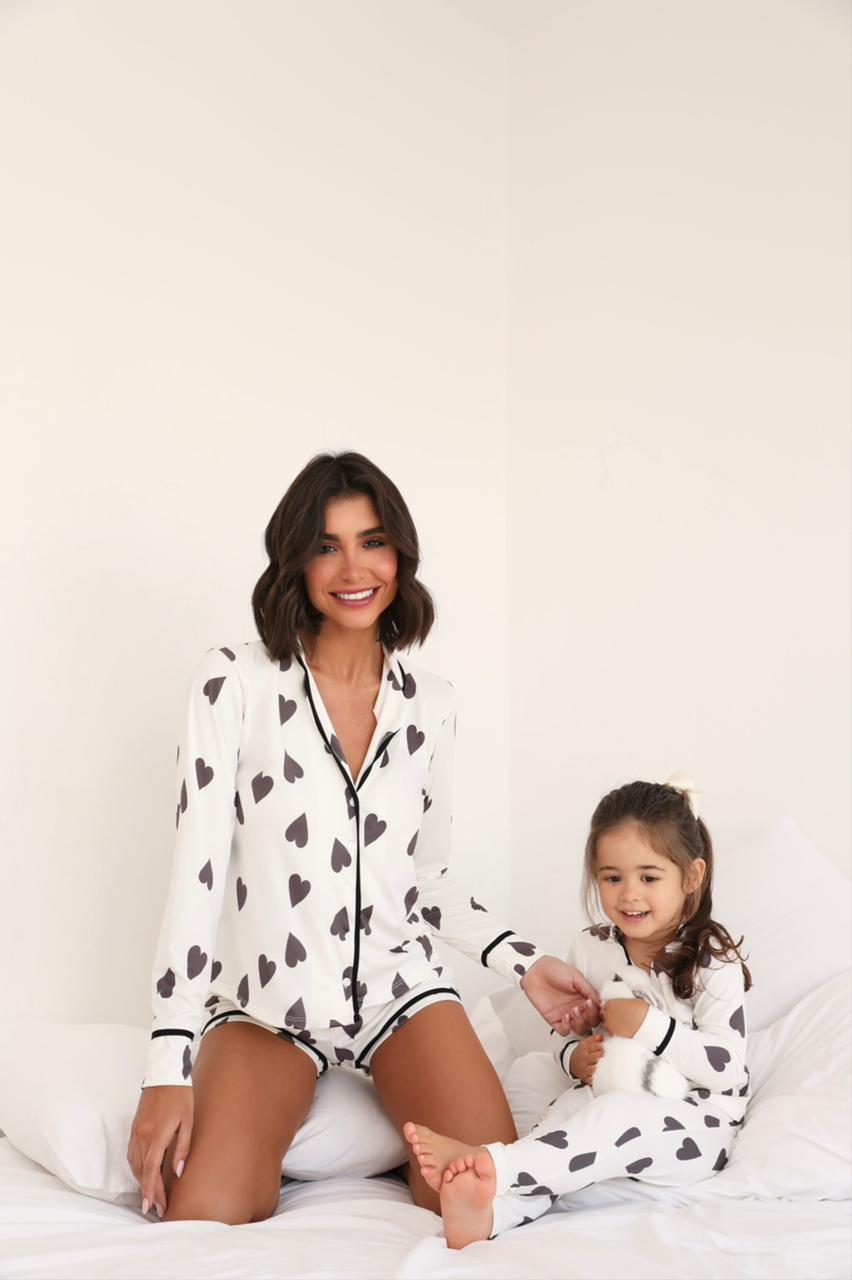 Pijama Curto Infantil Coração