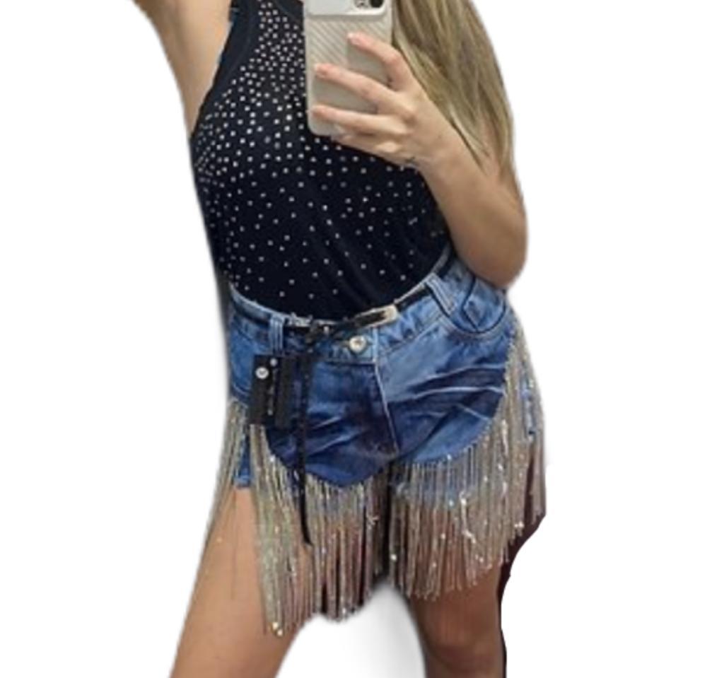 Shorts Cintura Alta Jeans Com Strass