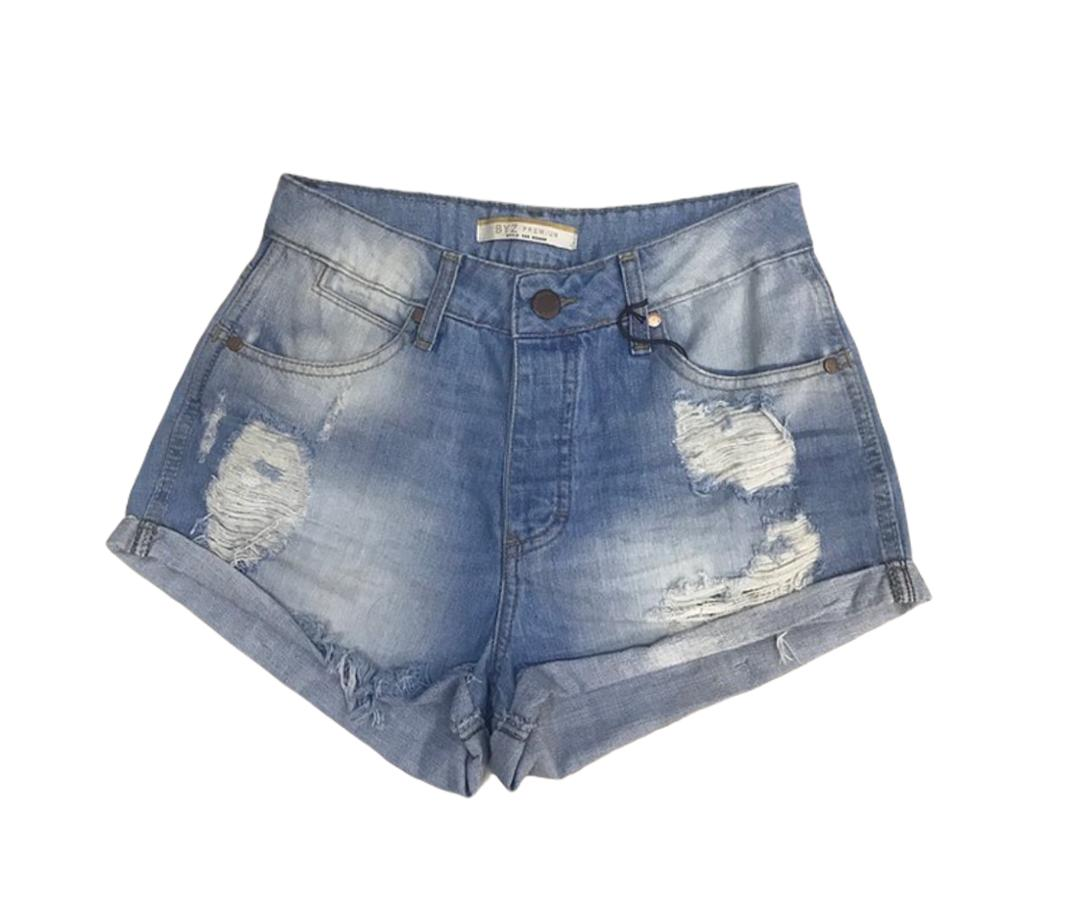 Shorts Jeans Cintura Alta Destroyed