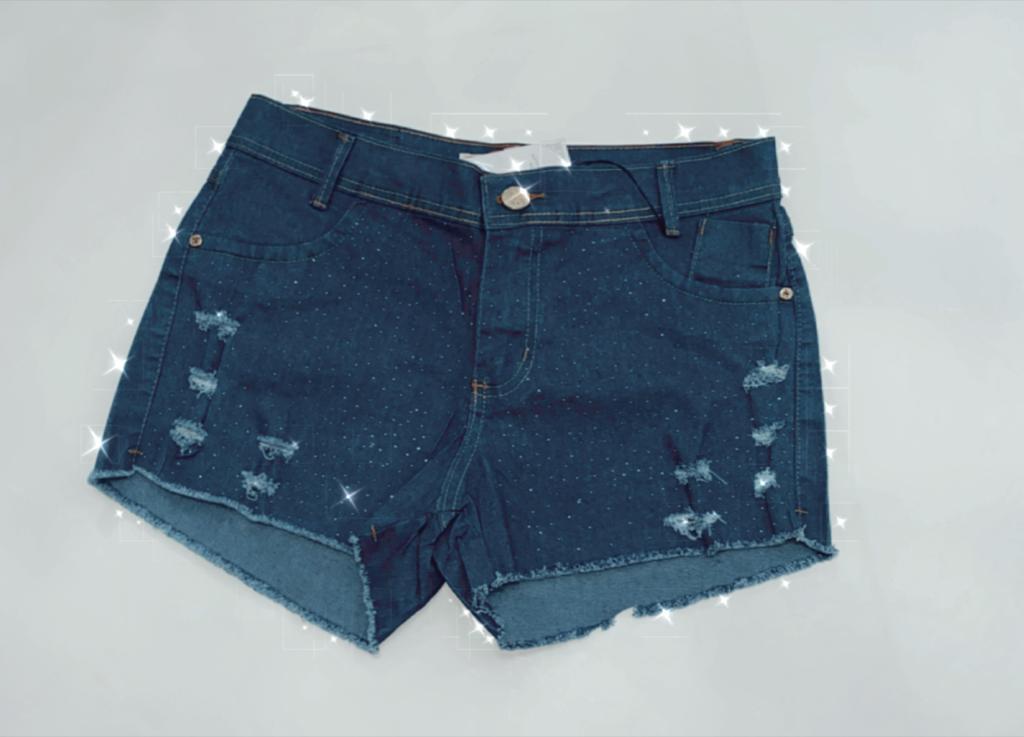 Shorts Jeans Strass Com Elastano