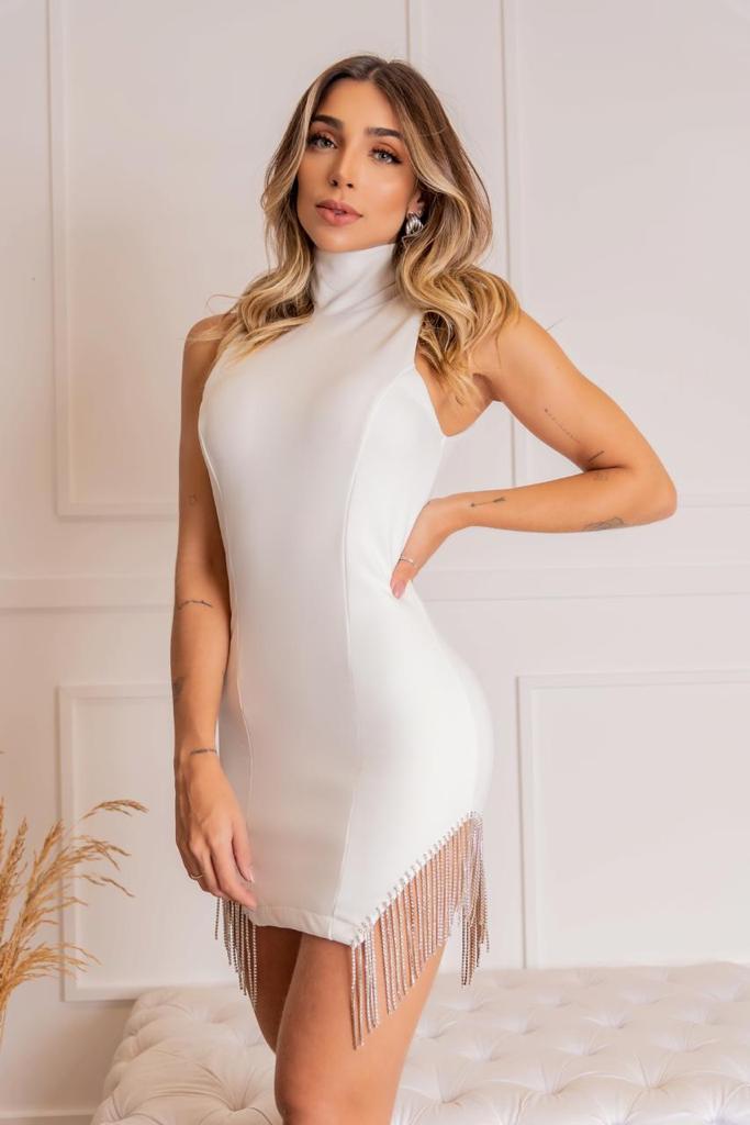 Vestido Branco  Correntes Strass