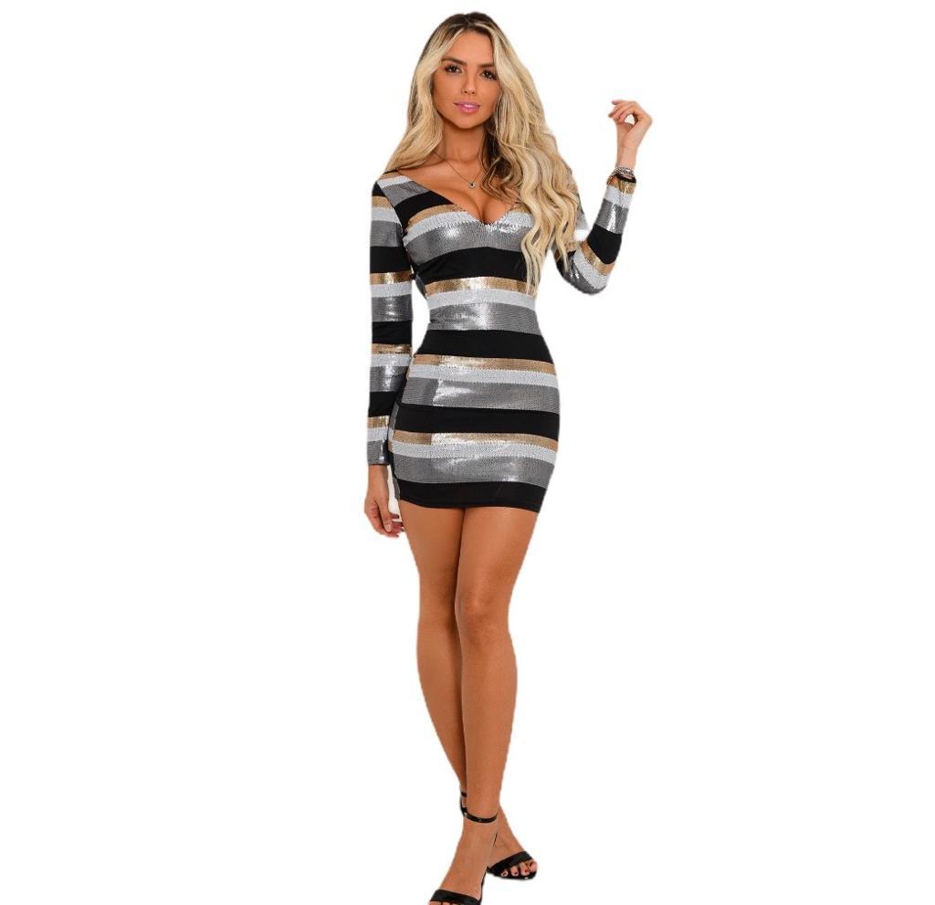 Vestido feminino curto manga comprida paetê listrado